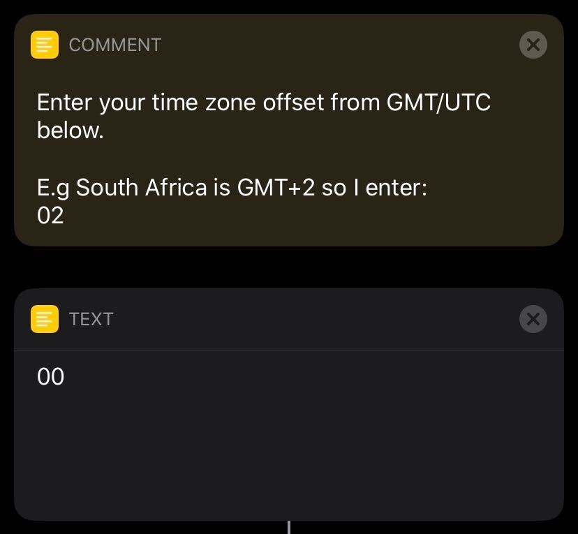 Enter your GMT time zone offset into the Shortcut